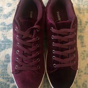 Shoedazzle Stepheyne Maroon Velvet Sneakers